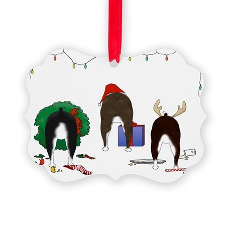 Boston Terrier Christmas Picture Ornament