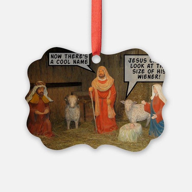 Offensive nativity scene Xmas Ornament