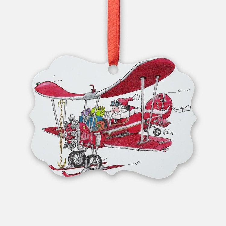 Santa Biplane Picture Ornament