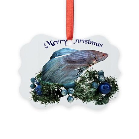 Christmas Blue Betta Picture Ornament