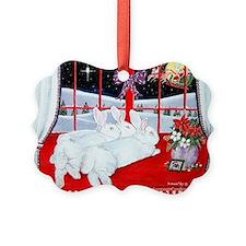 White Rabbits and Santa Christmas Ornament