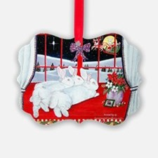 White Rabbits and Santa Christmas Ornament