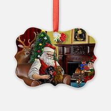 Santa's 2 Doxies (R+B) Ornament