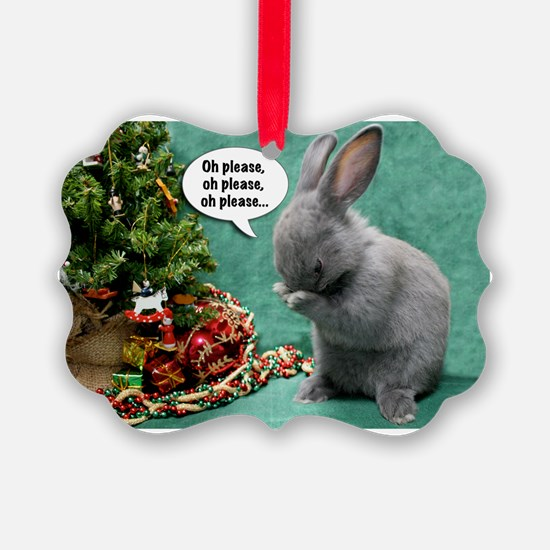 Baby Bunny Praying Christmas Ornament