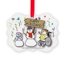 Happy Holidays Diversity Picture Ornament