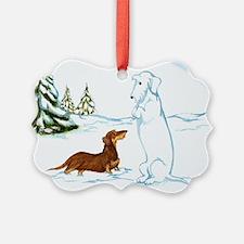 Wirehair Weiner Snow Dog Ornament