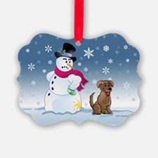 Funny Snowman and Brown Lab dog Ornament