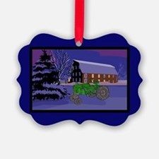 Country Barn Green Tractor Christmas Ornament