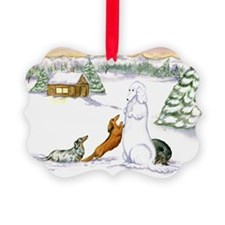 Longhaired Snow Doxies Ornament