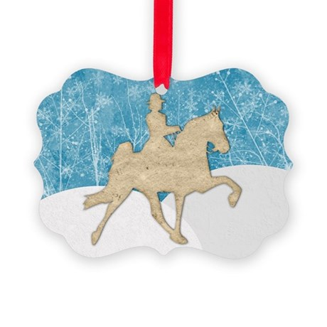 Gaited Horse Snow Picture Ornament
