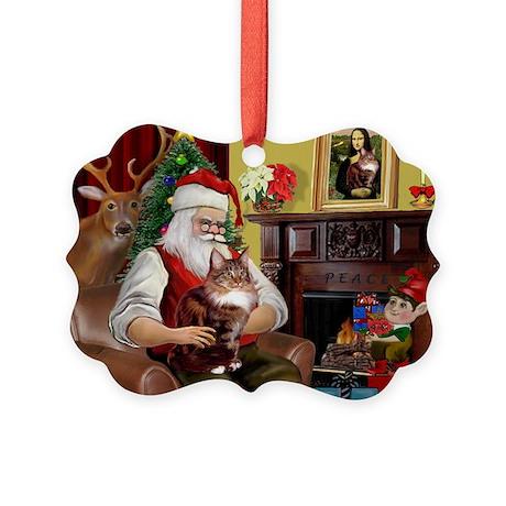 Santa's Maine Coon Picture Ornament