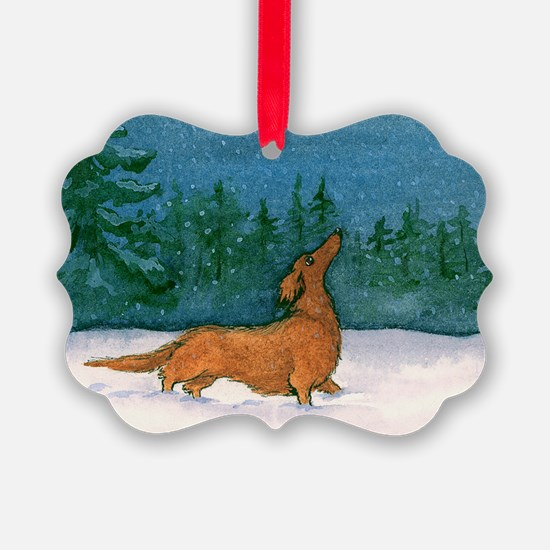 Longhaired Weiner Snow Ornament