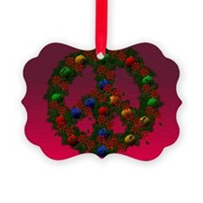 Christmas Peace Wreath Picture Ornament