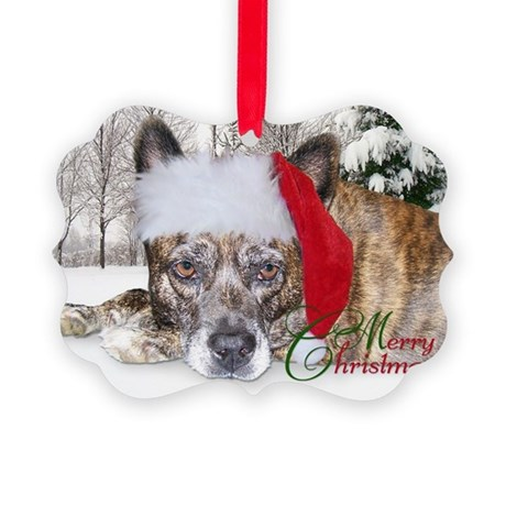 Christmas Brindle Mountain Cur Picture Ornament