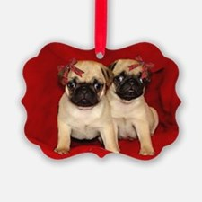 Christmas Pug Puppies Ornament