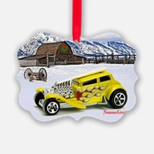 Yellow Hot Rod Toy Car Ornament