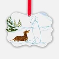 Wirehair Weiner Snow Dog Ornament