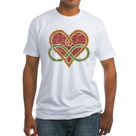 Grungy Polyamory Heart Fitted T-Shirt