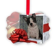 Christmas Boston Terrier Picture Ornament
