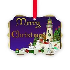 Snowmen and Lighthouse Picture Ornament