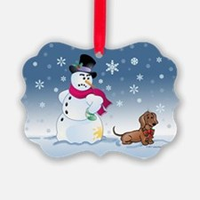 Funny Snowman and Doxie dog Ornament