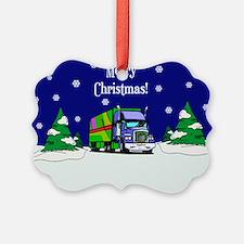 Semi Truck Merry Christmas Ornament