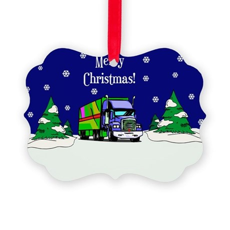 Semi Truck Merry Christmas Picture Ornament