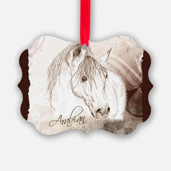 Grey Arabian Stallion Ornament