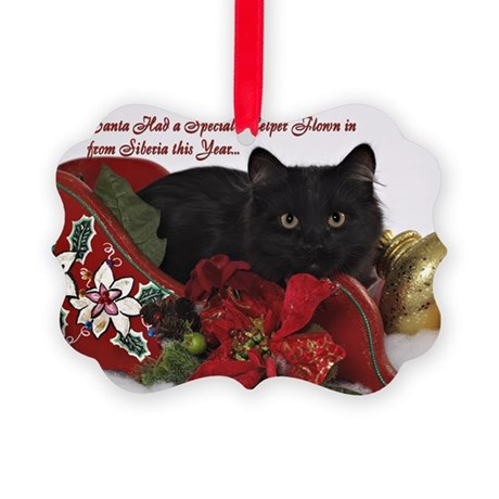 Siberian Cat Christmas Picture Ornament