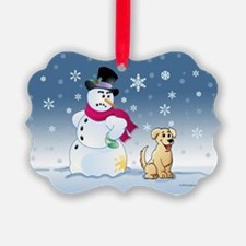 Yellow Lab and Snowman Ornament