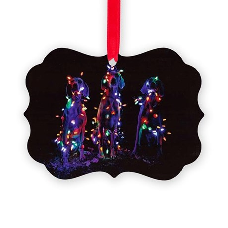 Happy Howl-a-days Picture Ornament