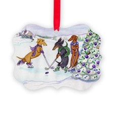 Ice Hockey Dachsies Ornament