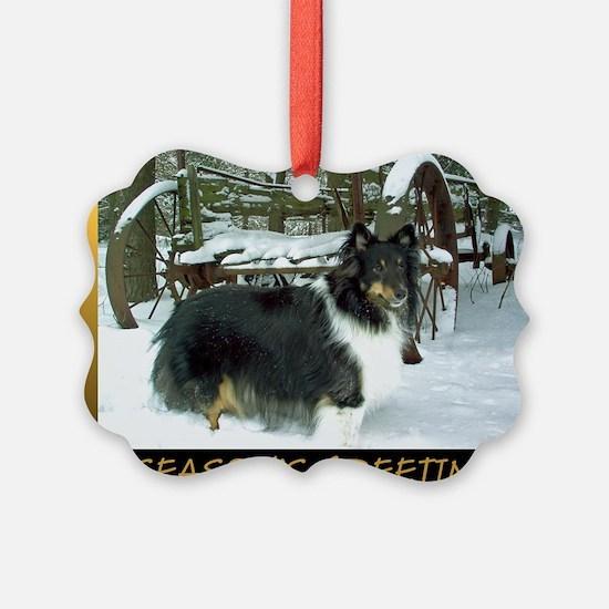 Winter Wagon Sheltie Ornament