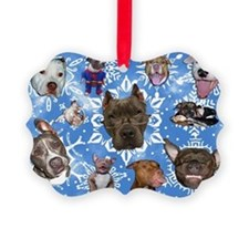 Pit Bull Snowflakes Ornament