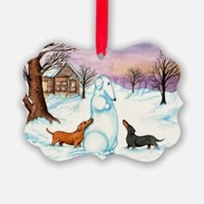 Snow Weiner Dog Ornament