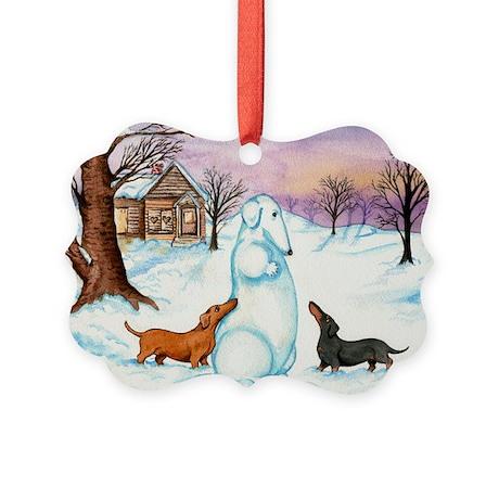 Snow Weiner Dog Picture Ornament