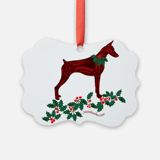 Dobe & Holly Ornament