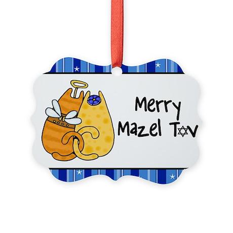 Merry Mazel Tov kitties Picture Ornament