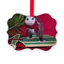Opossum on Sled Christmas Ornament