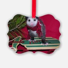 Opossum on Sled Christmas Ornament