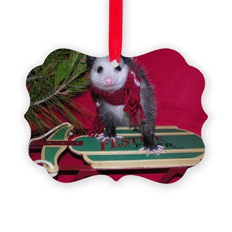 Opossum on Sled Christmas Picture Ornament