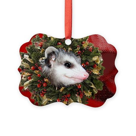 Possum Wreath Picture Ornament