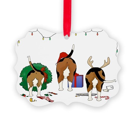 Beagle Christmas Picture Ornament