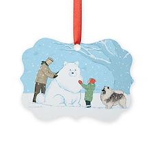 Keeshond Snow Dog Ornament