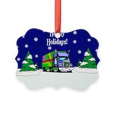 Semi Truck Happy Holidays Ornament0
