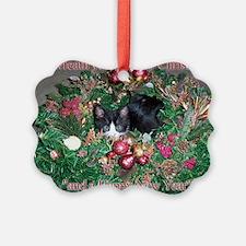Tuxedo Kitten Christmas Ornament