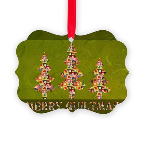 Vintage Quiltmas Picture Ornament