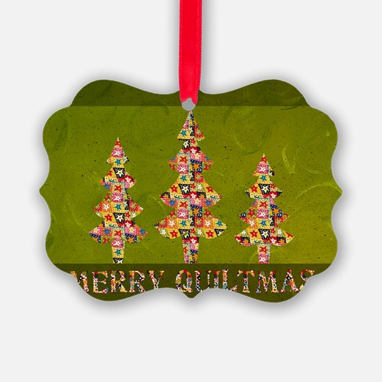 Vintage Quiltmas Picture Ornament