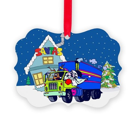 Trucker Santa Christmas Picture Ornament