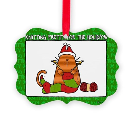 Knitting Pretty Holidays Picture Ornament
